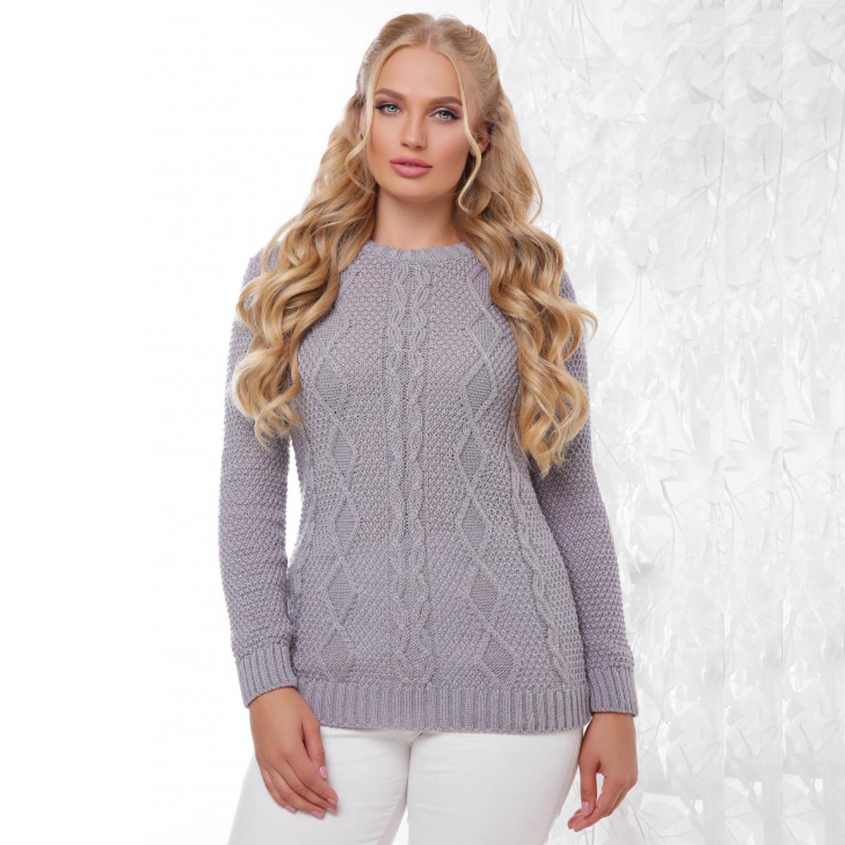 """Жіночий теплий сірий светр великого розміру """"Ніно"""""""