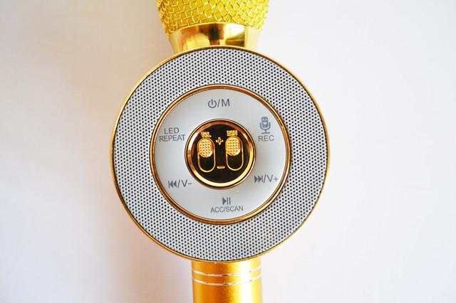 Портативный караоке-микрофон WS668 Gold с подсветкой