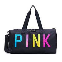 Сумка женская PINK в стиле Victoria's Secret  дорожная спортивная для фитнеса (черная)