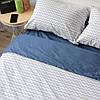 Постельное белье двуспальное поплин PF044 Серый зиг-заг/Деним Хлопковые традиции