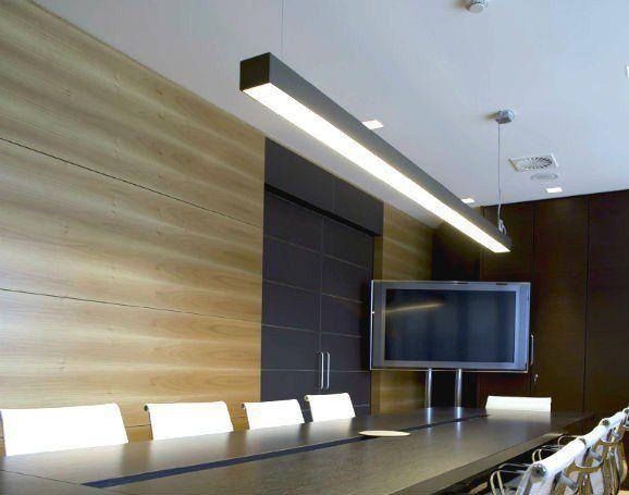 примеры фото Линейные светильники на подвесах офисное помещение