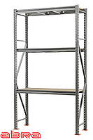 Стеллаж металлический для склада/магазина/гаража SN 2500х1230х900, оцинкованный, 3 полки ДСП, до 1100 кг/ярус