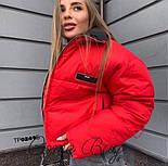 Женская короткая объемная куртка на молнии с воротником стойкой vN3474, фото 2