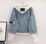 Женская джинсовая куртка оверсайз с белым капюшоном vN3476, фото 3