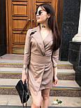Кожаное платье пиджак с отложным воротником и рукавом 3/4 vN3486, фото 2