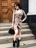 Кожаное платье пиджак с отложным воротником и рукавом 3/4 vN3486, фото 3