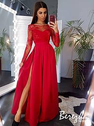 Длинное платье с кружевным верхом, длинным укавом и юбкой с разрезом vN3487