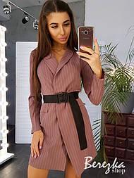 Платье - пиджак в полоску с длинным рукавом и на запах vN3489