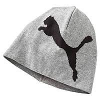 Шапка спортивная Puma ESS Big Cat Beanie 052925 03 (серая, хлопок, вязаная, теплая, зимняя, логотип пума)