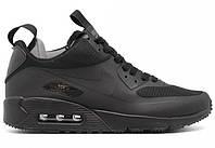 Мужские кроссовки Nike Air Max 90 Mid Winter Black (найк аир макс 90, черные, внутри термоносок)