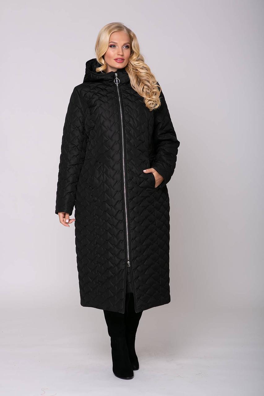 / Размеры 54,56,58,60 / Женское длинное пальто в стиле кэжуа Элин / цвет черный