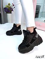 Ботинки женские  демисезонные  черные  на спортивной  подошве, фото 1