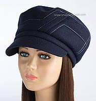 Теплая женская кепка Грация из кашемира темно-синяя