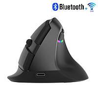 Беспроводная вертикальная мышь Delux M618 Mini Bluetooth + Wi-Fi, фото 1