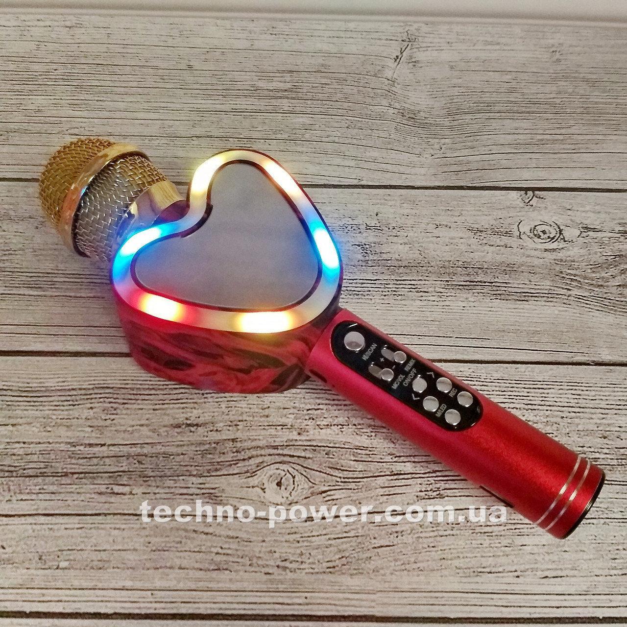 Портативный bluetooth караоке-микрофон Q5 Сердце Красный с подсветкой