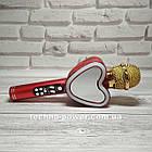 Портативный bluetooth караоке-микрофон Q5 Сердце Красный с подсветкой, фото 3