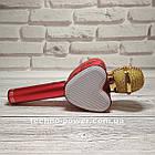 Портативный bluetooth караоке-микрофон Q5 Сердце Красный с подсветкой, фото 4