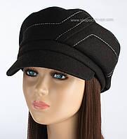 Оригинальная женская кепка Грация из кашемира черная