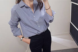 Женская рубашка в синюю полоску отличное качество, Т 071