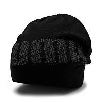 Шапка спортивная Puma ACTIVE beanie 021712 01 (черная, акрил, вязаная, теплая, зимняя, логотип пума)