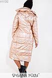 (от 48 до 54 размера) Длинное металлизированное пальто на молнии большого размера  vN3516, фото 3