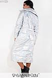 (от 48 до 54 размера) Длинное металлизированное пальто на молнии большого размера  vN3516, фото 4