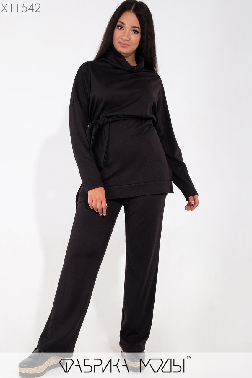 (от 48 до 62 размера) Женский брючный костюм большого размера с удлиненным верхом vN3518
