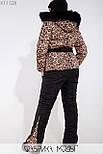 (от 48 до 54 размера) Женский зимний костюм большого размера с утепленными штанами и леопардовой курткой vN3519, фото 3