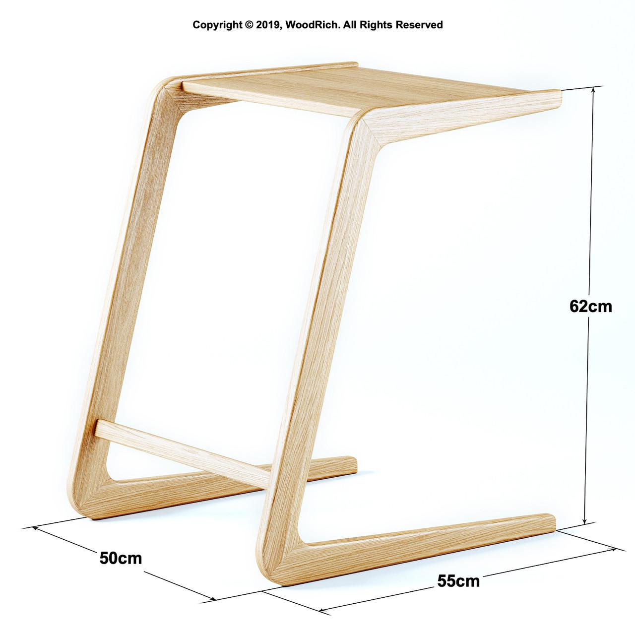 Приставной столик из натурального дерева