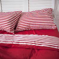 Постільна білизна двоспальне поплін PF054 Червоний/Червона смуга Бавовняні традиції, фото 1