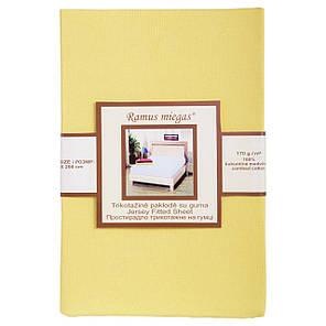 Простынь на резинке трикотажная Nostra 180х200 желтая, фото 2