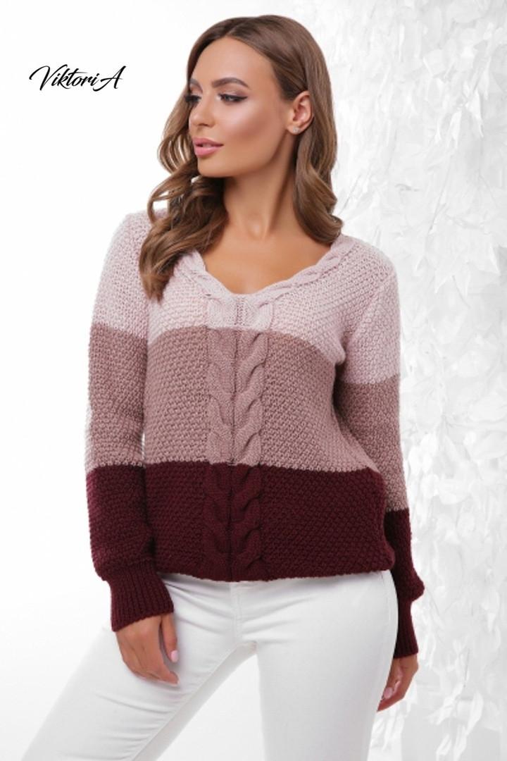 Трехцветный женский вязаный свитер с U-вырезом и косичкой vN3547