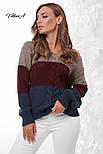 Трехцветный женский вязаный свитер с U-вырезом и косичкой vN3547, фото 2