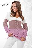 Трехцветный женский вязаный свитер с U-вырезом и косичкой vN3547, фото 3