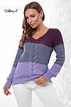 Трехцветный женский вязаный свитер с U-вырезом и косичкой vN3547, фото 4