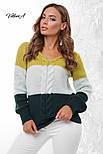Трехцветный женский вязаный свитер с U-вырезом и косичкой vN3547, фото 6