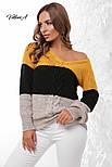 Трехцветный женский вязаный свитер с U-вырезом и косичкой vN3547, фото 7