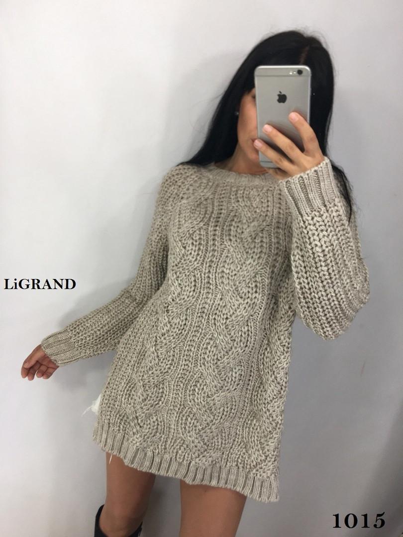 Удлиненный женский вязаный свитер из объемной вязки vN3551