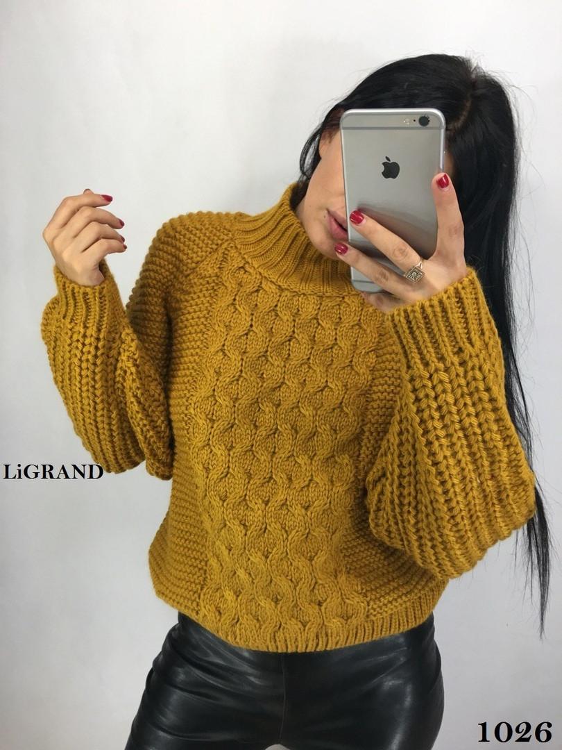 Женский вязаный свитер с шерстью с воротником стойкой vN3554