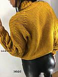 Женский вязаный свитер с шерстью с воротником стойкой vN3554, фото 2