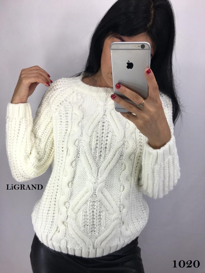 Женский шерстяной объемный свитер с узором и овальный вырезом горловины vN3555