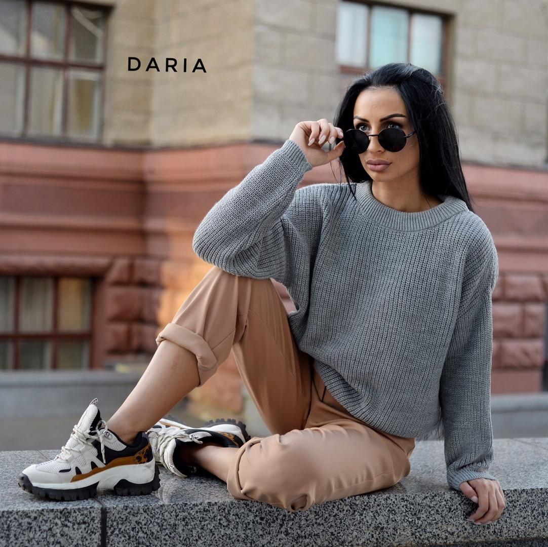 Свободный женский вязаный свитер на каждый день vN3562