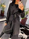 Женский тренч на запах с сумкой на поясе и ремешками на рукавах vN3564, фото 4