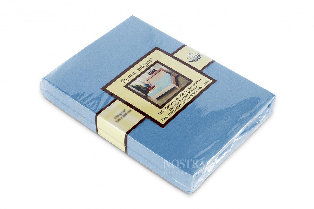 Простынь на резинке трикотажная Nostra 180х200 голубая