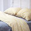 Постельное белье двуспальное поплин PF056 Тёмно-серый/жёлтый зиг-заг Хлопковые традиции