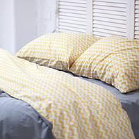 Постельное белье двуспальное поплин PF056 Тёмно-серый/жёлтый зиг-заг Хлопковые традиции, фото 1