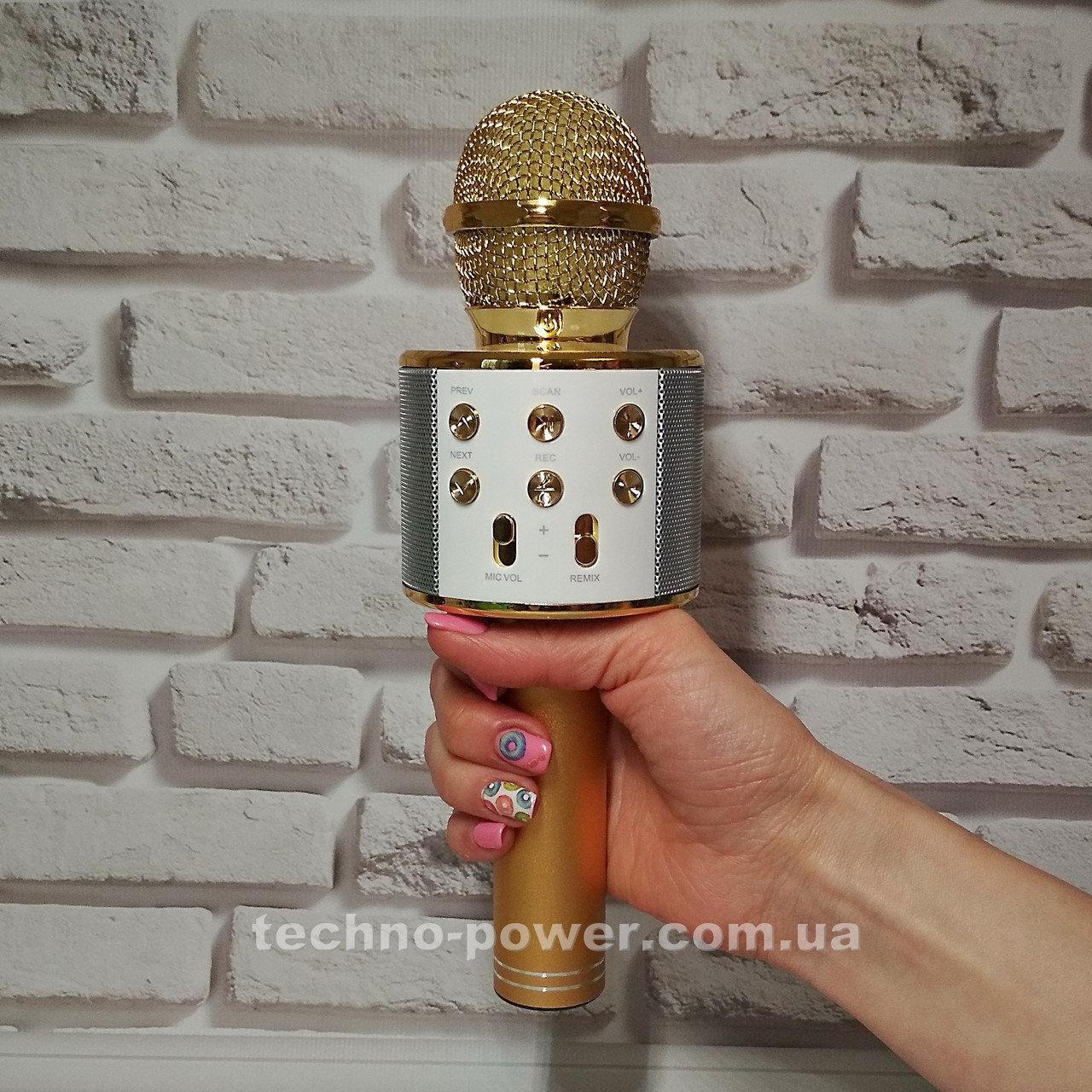 Караоке-микрофон bluetooth WS858 Золото. Портативный блютуз караоке микрофон
