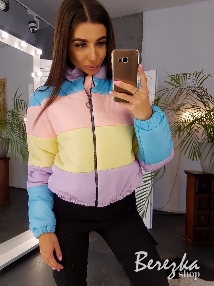 Женская цветная короткая куртка на молнии с воротником-стойкой vN3568