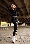 Спортивный женский костюм с укороченным бомбером на молнии и штанами с манжетами vN3581, фото 2