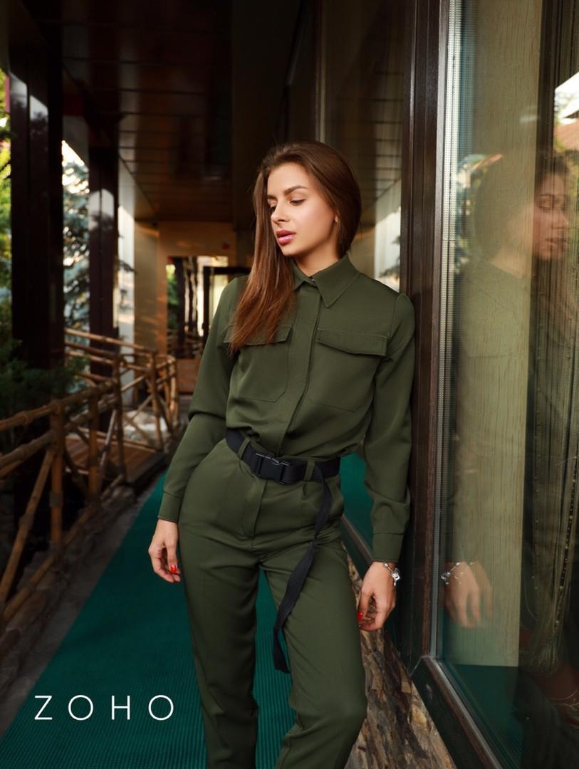 Женский костюм милитари с рубашкой и брюками vN3586